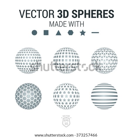Brochure, flyer with set of 3D sphere of geometric hexagon, triangle, square,star, round, stripe shapes. Vector illustration. - stock vector