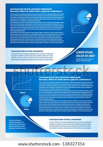 brochure folder info diagram design vector blue - stock vector