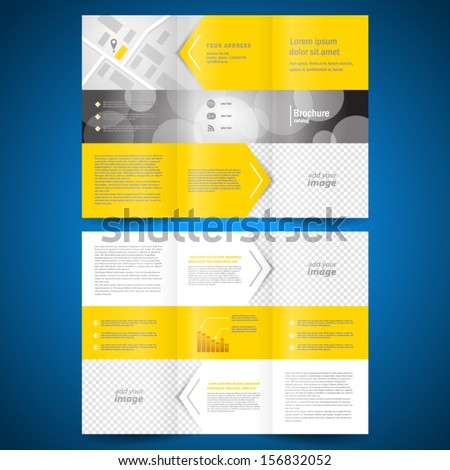 brochure folder leaflet arrow line yellow background,  block for images - stock vector