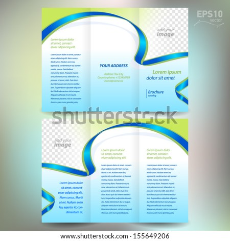 brochure folder leaflet ribbon element band wave color green line blue background, block for images - stock vector