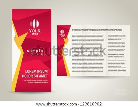 brochure folder red design - stock vector