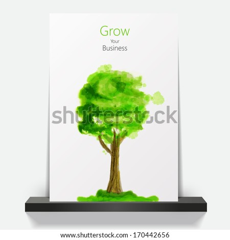 Brochure Green abstract tree eco business presentation cover design  - stock vector