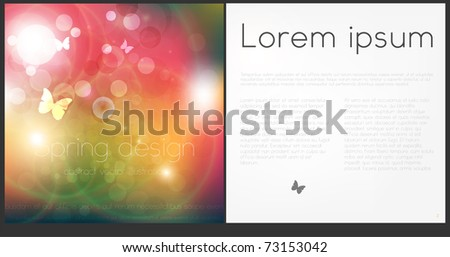 Brochure Layout Design. Spring background with butterfly. - stock vector