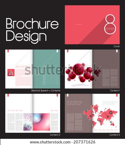 Brochure Layout Design Template with 10 pages (5 spreads) Preview. - stock vector