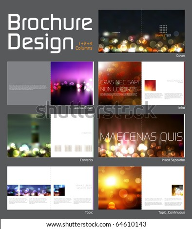 Brochure Layout Design Template with 14 pages (7 spreads) Preview. - stock vector