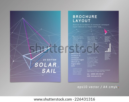 Brochure / leaflet / cover / page layout template. Polygonal design, geometric sharp surfaces, futuristic style. Sail theme. Progress, development and growth concept.  - stock vector