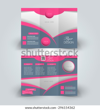 Brochure mock up design template for business, education, advertisement. Trifold booklet editable printable vector illustration. Pink and grey color. - stock vector