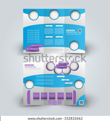 Brochure mock up design template for business, education, advertisement. Trifold booklet editable printable vector illustration. Purple and blue color. - stock vector