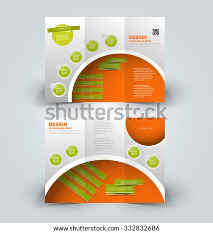 Brochure mock up design template for business, education, advertisement. Trifold booklet editable printable vector illustration. Orange and green color. - stock vector