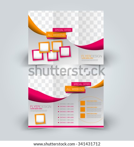Brochure mock up design template for business, education, advertisement. Trifold booklet editable printable vector illustration. Orange and pink color - stock vector