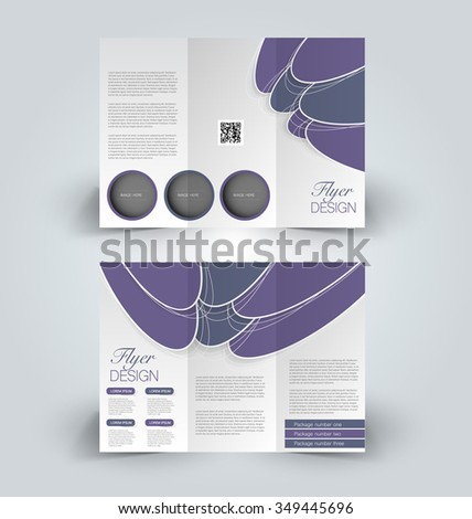 Brochure mock up design template for business, education, advertisement. Trifold booklet editable printable vector illustration. Purple color