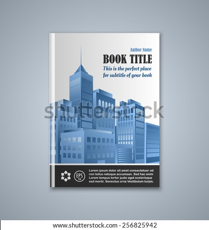 Brochure or book cover template on grey background - stock vector