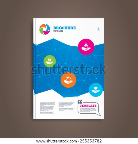 Brochure or flyer design. Helping hands icons. Health and travel trip insurance symbols. Gift present box sign. Fire protection. Book template. Vector - stock vector