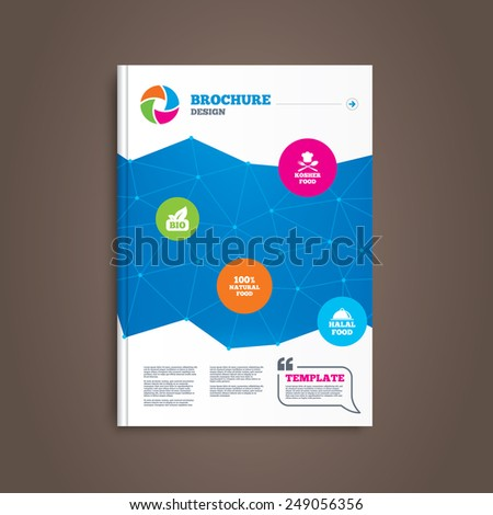 Brochure or flyer design. 100% Natural Bio food icons. Halal and Kosher signs. Chief hat with fork and spoon symbol. Book template. Vector - stock vector