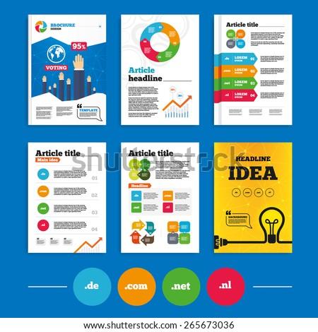 Brochure or flyers design. Top-level internet domain icons. De, Com, Net and Nl symbols. Unique national DNS names. Business poll results infographics. Vector - stock vector