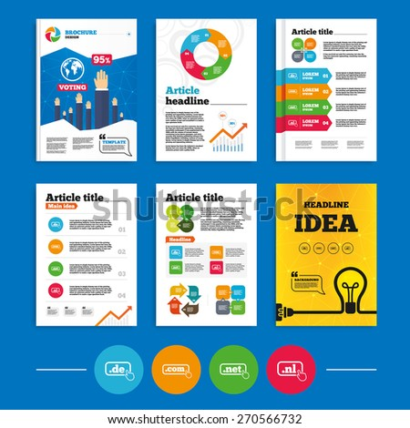 Brochure or flyers design. Top-level internet domain icons. De, Com, Net and Nl symbols with hand pointer. Unique national DNS names. Business poll results infographics. Vector - stock vector