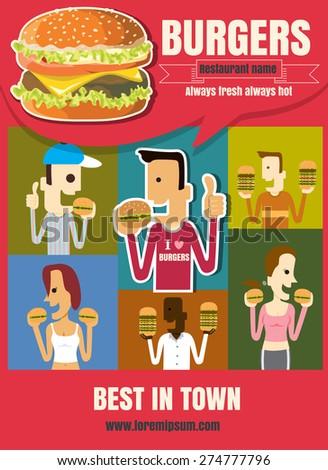 Brochure or poster Restaurant fast foods burger menu with people cartoon illustration vector format eps10 - stock vector