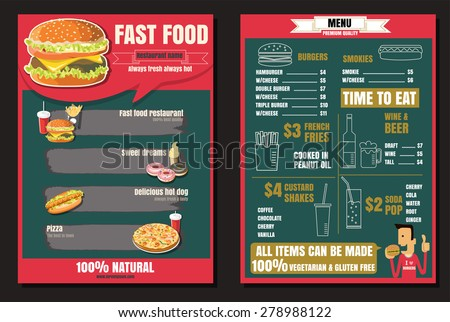 Brochure or poster Restaurant fast foods menu with people vector format eps10 - stock vector