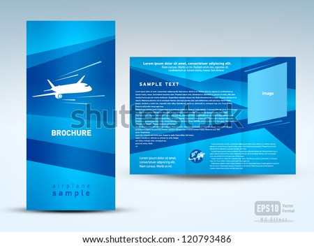 brochure plane flight tickets air fly cloud sky blue white color travel background - stock vector