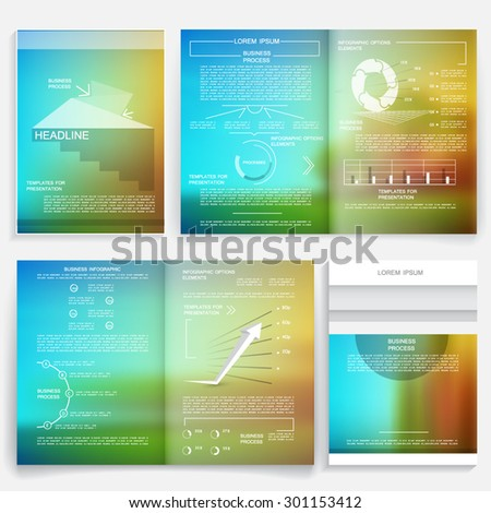 Brochure set, business reports, infographic elements, vector