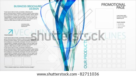 Brochure template. Abstract blue lines - stock vector