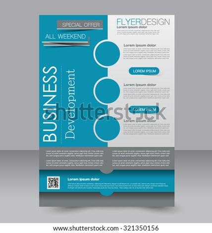Brochure template. Business flyer. Editable A4 poster for design, education, presentation, website, magazine cover. Blue color. - stock vector