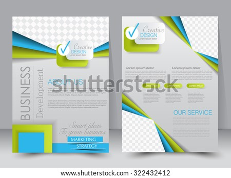 Brochure template. Business flyer. Editable A4 poster for design, education, presentation, website, magazine cover. Blue and green color. - stock vector