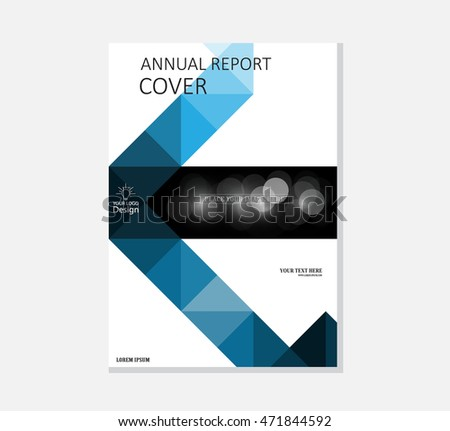 Brochure template, cover design, annual report, magazine and flyer layout with blue green geometric shapes on polygonal background. Vector illustration.