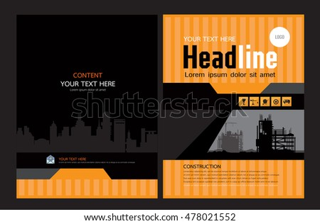 Brochure Template Design Concept Architecture Design Stock Vector - Construction brochure templates