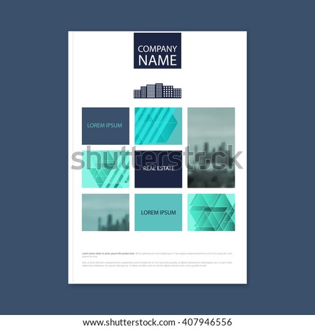 Brochure template design. Concept of architecture design with photo frame. Vector illustration. Brochure template for real estate company. Brochure template for print or website. - stock vector - stock vector