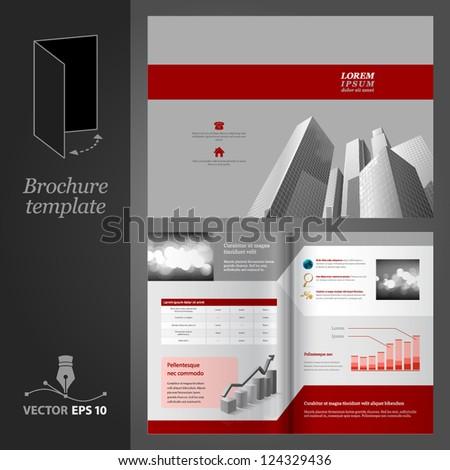 Brochure template design. Modern business center. - stock vector
