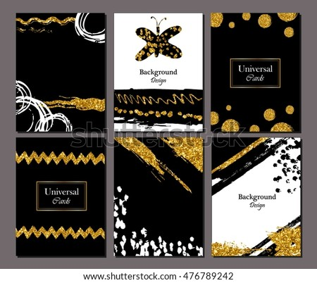 Brochure template design set with brush stroke Vector illustration. Grunge cards  golden paint, modern style poster or flyer.  strokes, gold tinsel