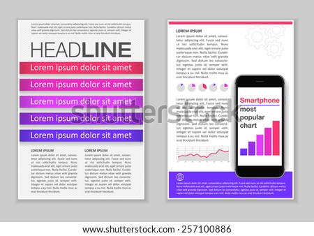 Brochure Template Design With Infographic Elements, Charts And Icons.  Creative Vector Flyer, Pamphlet  Information Pamphlet Template