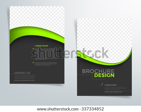 Brochure template flyer background for business design in A4 size , Black space with green line element and space for add image , Vector EPS10 - stock vector