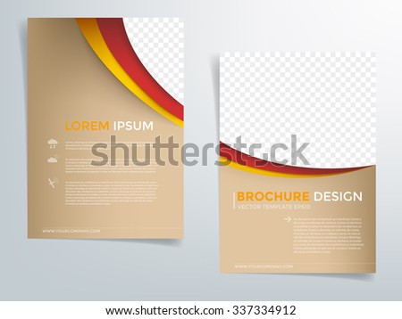 Brochure template flyer background for business design in A4 size , Brown space with red and yellow line element and space for add image , Vector EPS10 - stock vector