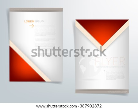 Brochure template flyer background for business design in A4 size , red and silver and black element with triangle , Vector EPS10 - stock vector