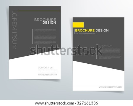 Brochure template flyer design vector background with black yellow element with white space for text and message in A4 size - stock vector