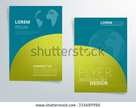 Brochure template flyer headline design background with blue and green element curve and world network concept with space for article text design in A4 size , vector EPS10 - stock vector