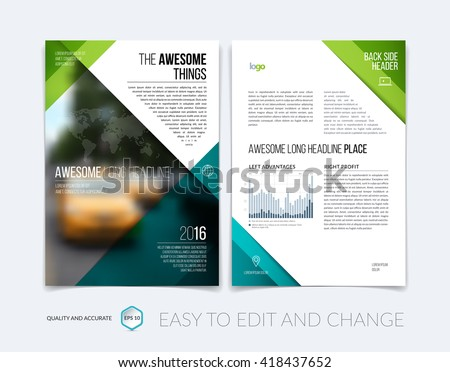 Green Flyer Brochure Leaflet Poster Cover Stock Vector