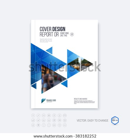 Brochure template layout, cover design annual report, magazine, flyer or booklet in A4 with  blue dynamic triangular geometric shapes on polygonal background. Vector Illustration. - stock vector