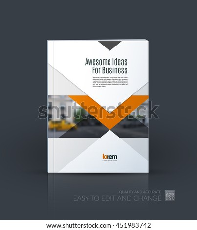 Brochure template layout, cover design annual report, magazine, flyer or leaflet in A4 with arrows, triangles with overlap effect for business with industrial and modern concept. Vector. - stock vector