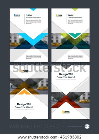 Brochure template layout, cover design annual report, magazine, flyer or leaflet in A4 with blue arrows, triangles with overlap effect for business with industrial and modern concept. Vector set. - stock vector
