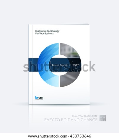 Brochure template layout, cover design annual report, magazine, flyer or leaflet in A4 with blue circle with overlap effect for business with industrial and modern concept. Vector. - stock vector