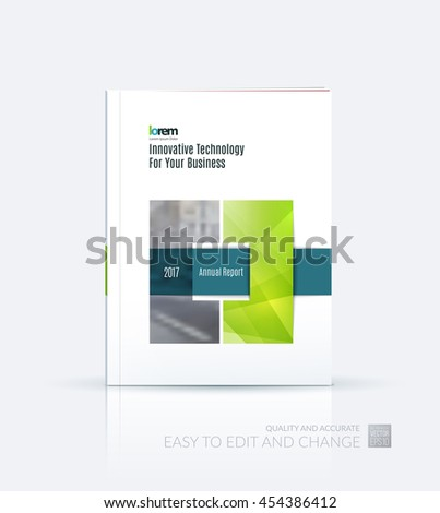 Brochure template layout, cover design annual report, magazine, flyer or leaflet in A4 with green square with overlap effect for business with industrial and modern concept. Vector. - stock vector