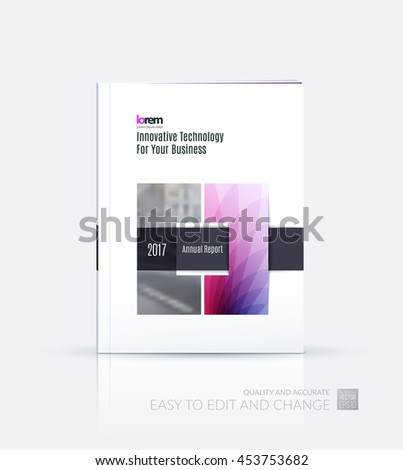 Brochure template layout, cover design annual report, magazine, flyer or leaflet in A4 with purple square with overlap effect for business with industrial and modern concept. Vector. - stock vector