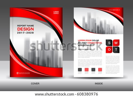 Brochure Template Layout Red Cover Design Stock Vector 608380970