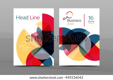 Brochure template of annual report cover, vector business flyer layout, geometric abstract poster, A4 size - stock vector