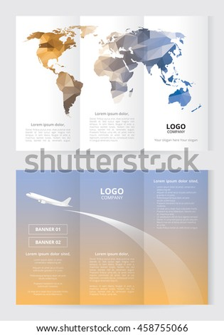 Brochure template size A4 3 Fold 2 Side low polygon world map orange and blue color, airplane illustration on sunset background, white and gray text layout with banner box and company logo - stock vector