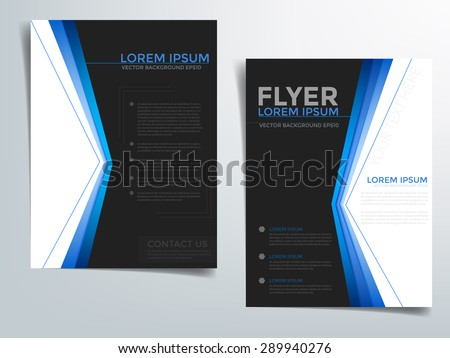 Brochure template vector background flyer design with black and blue line concept elements overlap on white space and sample text for text and message brochure artwork design in A4 size - stock vector