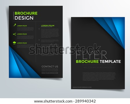 Brochure template vector background flyer design with blue paper concept elements overlap color idea and sample text for text and message brochure artwork design in A4 size - stock vector